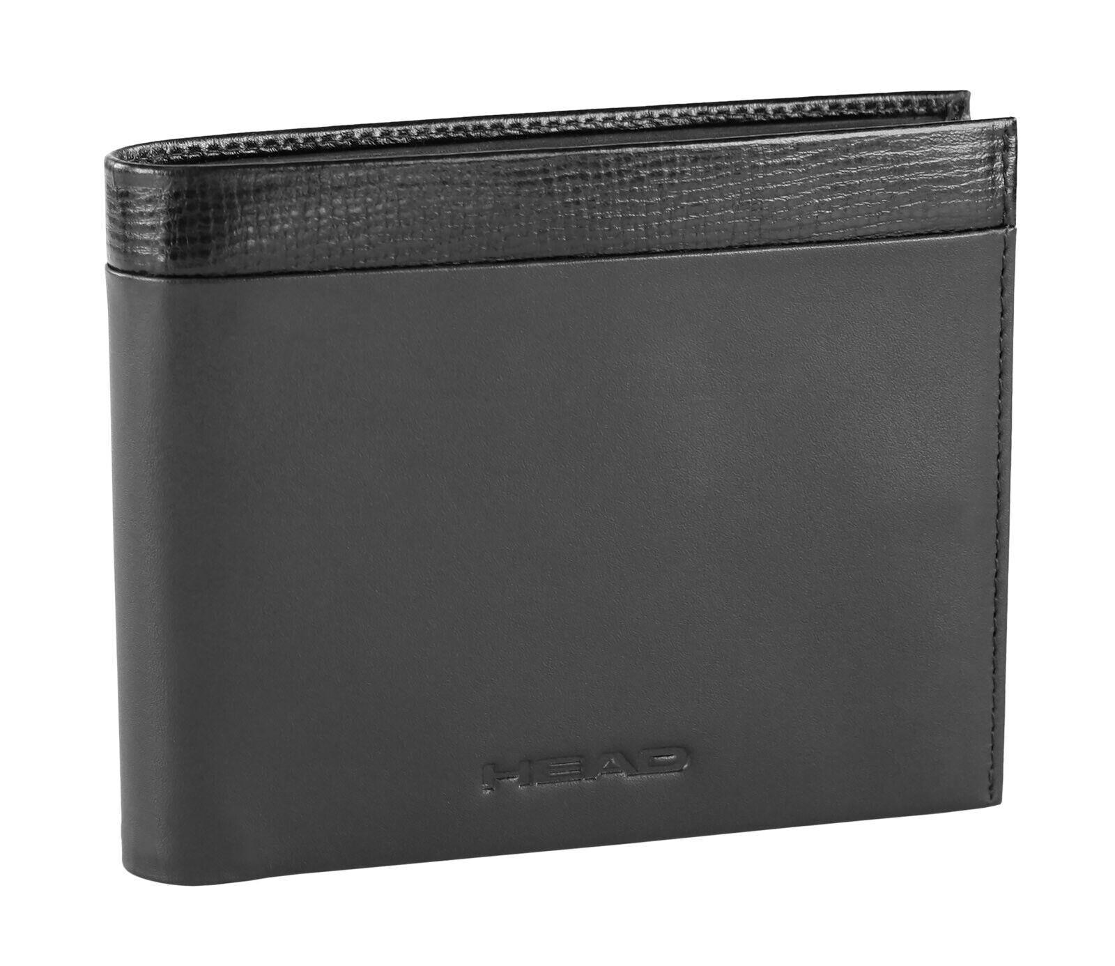 HEAD Glide Scheintasche mit Klappe Geldbörse Portemonnaie Leder Schwarz Wallet