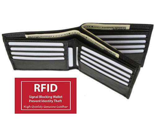 Mens Black Leather Bifold Hipster Wallet European Card Center Flap RFID Blocking