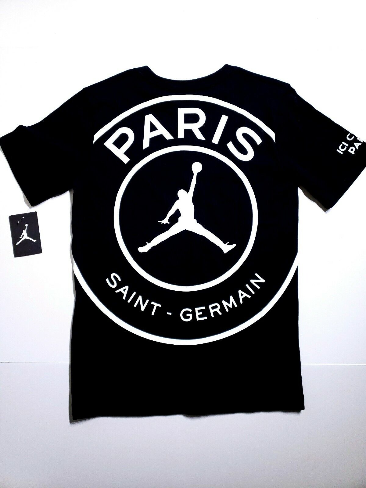 e3540f37d10 Nike Jordan X PSG Paris Saint Germain Black Cotton Big Logo T-shirt Youth  Large