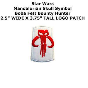 Mandalorian Skull Symbol Boba Fett Bounty Hunter Star Wars IronOn Applique Patch