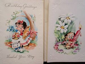 lot of  vintage happy birthday cards little girl and cute puppy, Birthday card