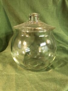 Vintage Large Clear Round Glass Apothecary Jar Cookie Candy Jar