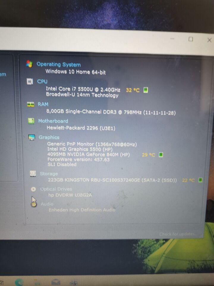 HP Gamer pavilion, Core i7-5500 GHz, 8 gb ram GB ram