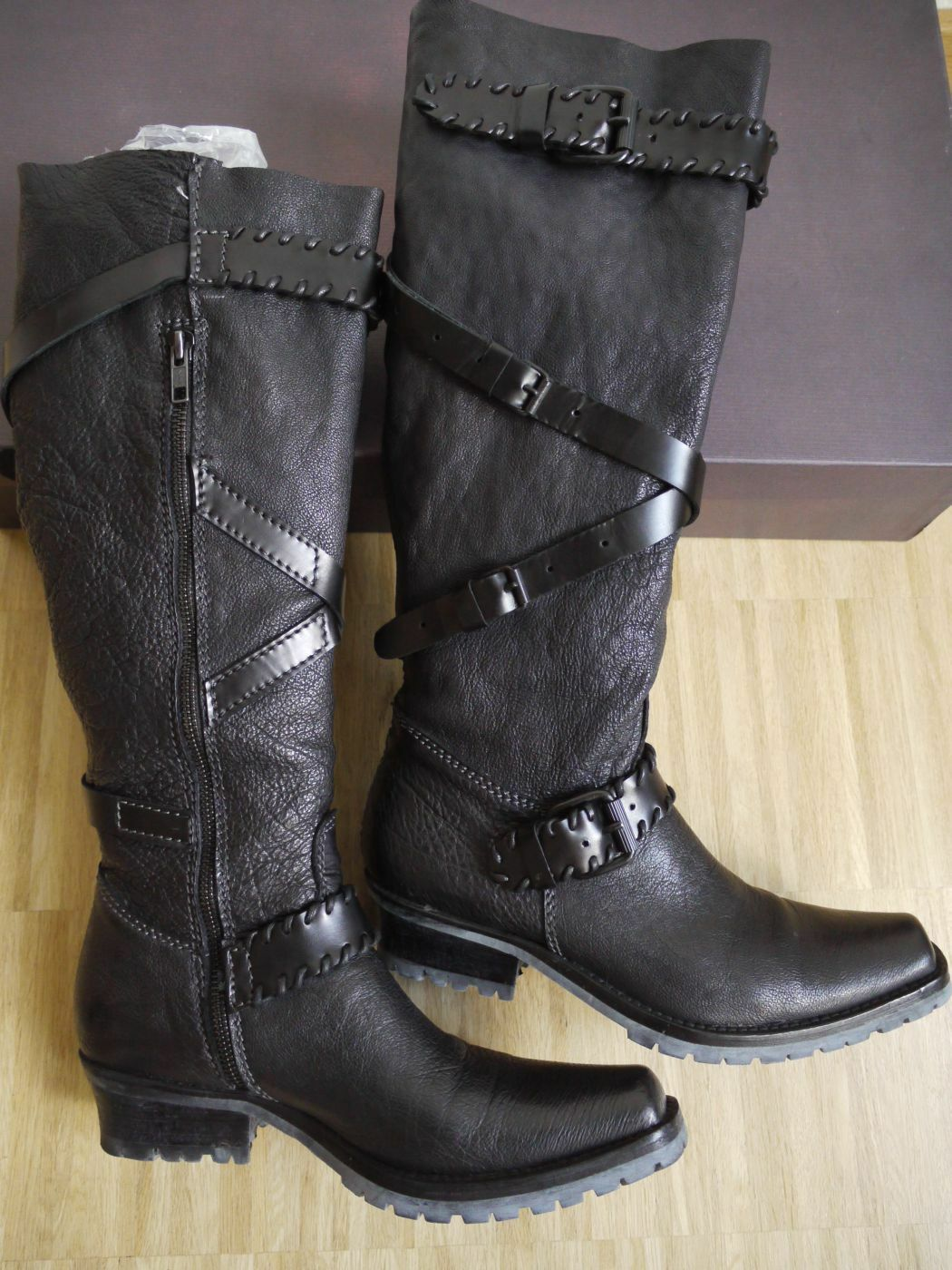 PRIMA BASE Stiefel mit  Gürtel  Voll-Leder + Profilsohle Gr.37-38 schwarz NP