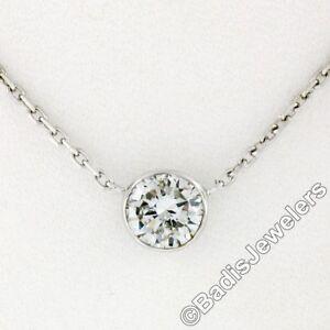 l'atteggiamento migliore adf70 3f7c6 Dettagli su Nuova 14k Oro Bianco 0.73ct Corona Set Diamante Solitario  Collana con Ciondolo