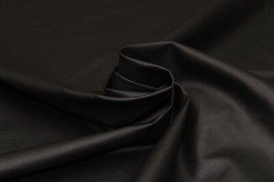 Poly-Elastane Bengaline Plain Laquer Coated Dress Fabric Material (Black)