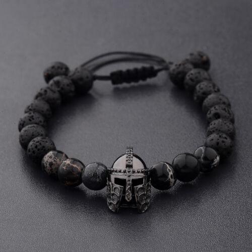 Hommes charme Noir Spartiate Casque de perles en pierre naturelle réglable MACRAME BRACELETS