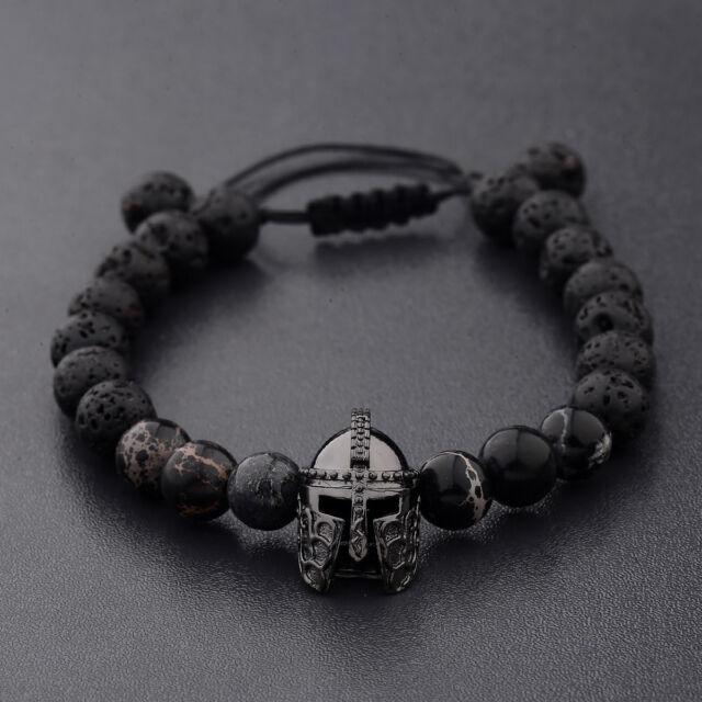 Men Charm Black Spartan Helmet Beaded Natural Stone Adjule Macrame Bracelets