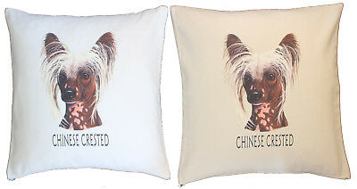 Gift Item Cream or White Cover Chinese Crested Group Cotton Cushion Cover