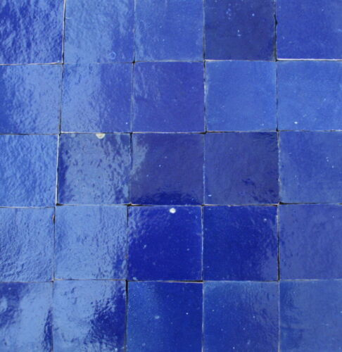 Wandfliesen Mosaik Küche 20 marokkanische Zellige Kacheln nachtblau 10x10cm