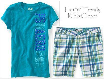 NWT PS Aeropostale Kids Girls Size 7 8 Plaid Bermuda Shorts /& Tee Shirt 2-PC SET