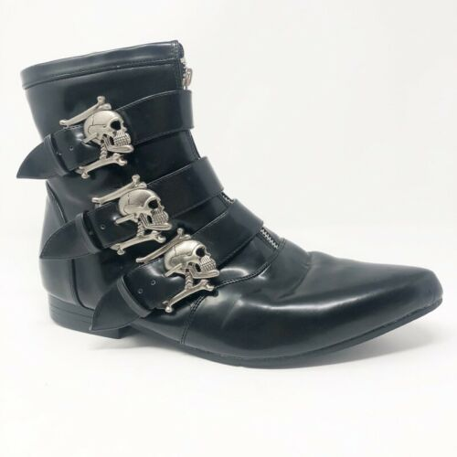 Demonia Mens Brouge Winklepicker Boots Black Skull