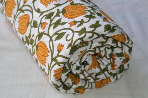 Multi colored Hand Made Block Print Fabric Indian Cotton Craft Fabric 2.5 Yard