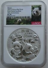 NGC PF70 China 2017 Issued Panda Gold Coin 35th Anniversary Silver Medal 45g COA