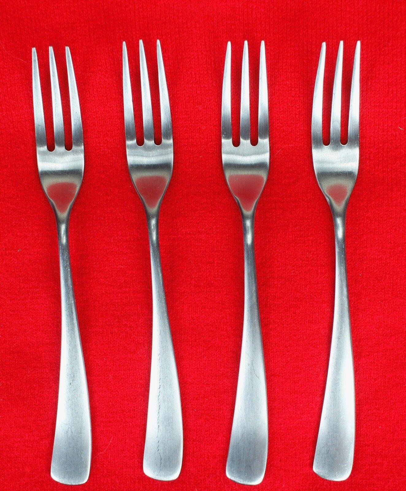 4X Salad Forks Studio William Larch-Satin Stainless Curved Flatware 7 3 8  Fork