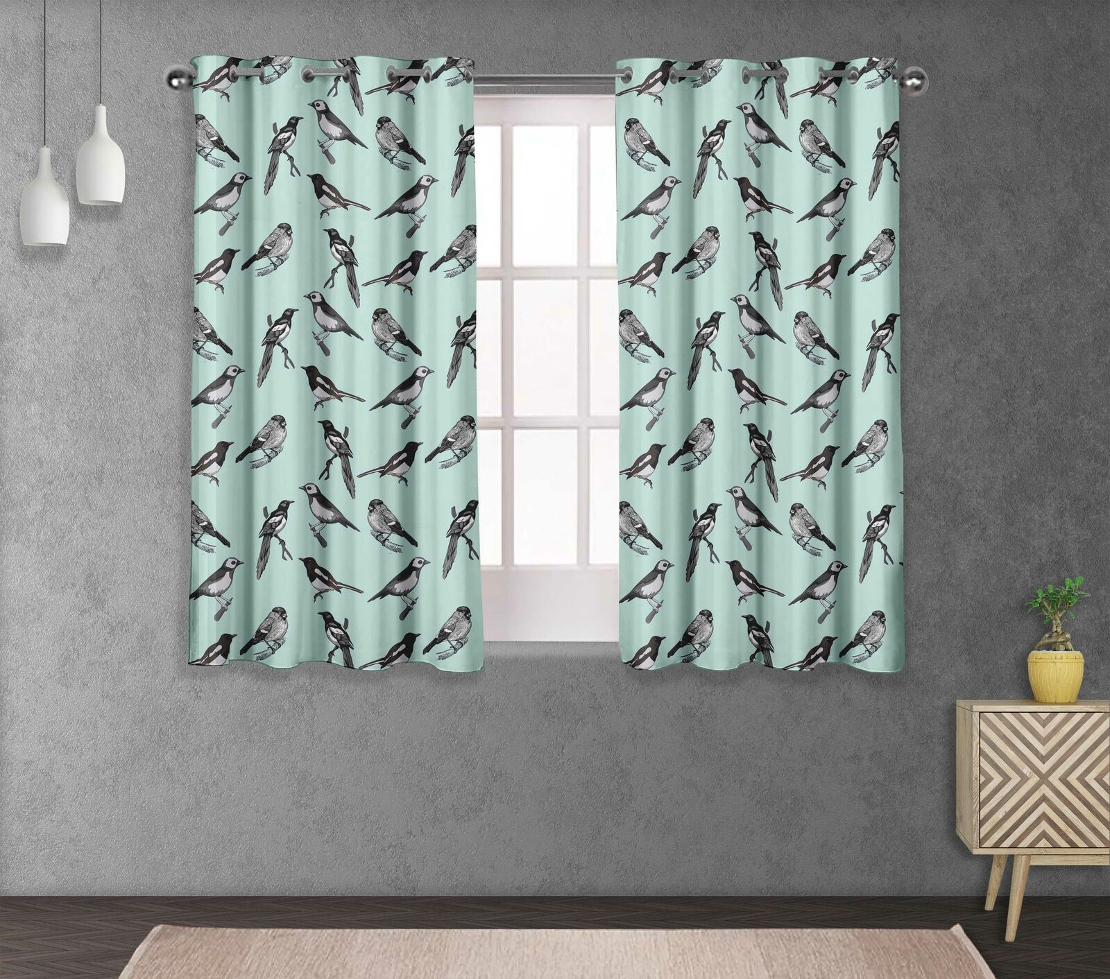 S4sassy Artistic Living Room Eyelet Window short & long Curtain -BRD-532B