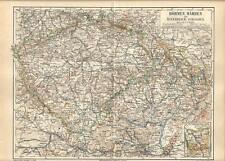 Carta geografica antica BOEMIA MORAVIA SLESIA Ceca Austria 1890 Old antique map