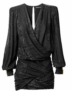 BALMAIN-x-H-amp-M-Black-Jacquard-Weave-Silk-V-neck-Low-Cut-Draped-Skirt-Dress-EUR-34