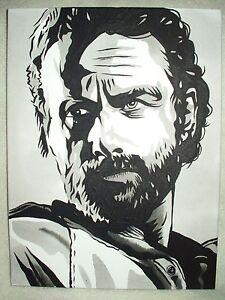 Toile Peinture Walking Dead Rick Portrait Noir Et Blanc Art 16x12 Pouces Acrylique Ebay