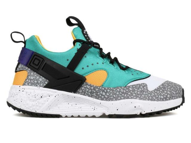 reputable site cca6f f659a Size 9 Nike Men Air Huarache Utility Premium 806979 103 White Yellow  BlackPurple