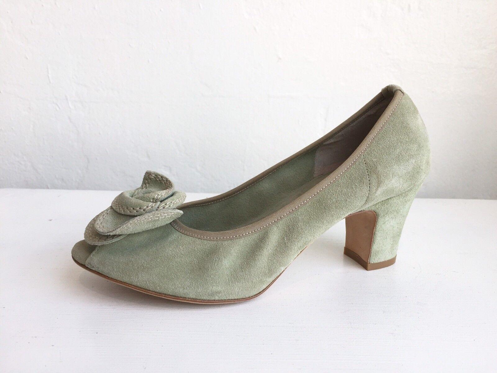 DANIELE ANCARANI Suede Sage Peep-Toe Heels Heels Heels Größe 7.5  325 bd9a1a