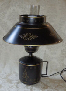 Vintage-Black-TOLE-WARE-Metal-Table-or-Wall-Lamp-w-Gold-Trim