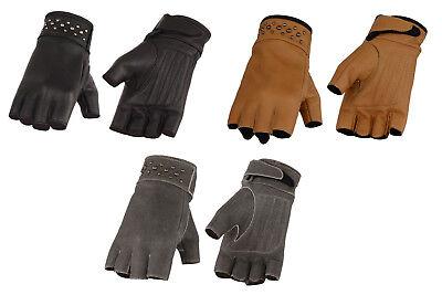 Motorcycle Womens Biker Saddle Tan Soft Leather Fingerless Gel Palm Gloves New