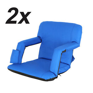 Set of 2 Portable Stadium Seat Chair Reclining Seat Blue Bleachers 5 Positions