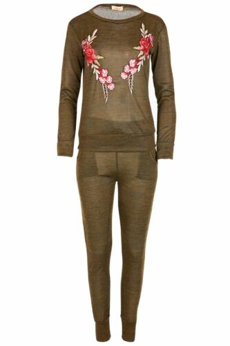 Womens Sweatshirt Fleece Loungewear Ladies Floral Embroidery Jogsuit Tracksuit