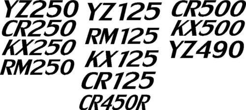 KX250-125 CR250-125 YZ250-125 RM250-125 KX500 YZ490 CR500 CR450R vinyl decals