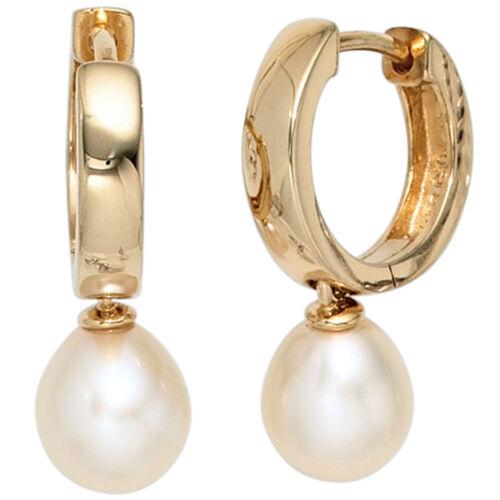 Creolen 925 Silber gold vergoldet 2 Süßwasser Perlen Ohrringe Perlenohrringe