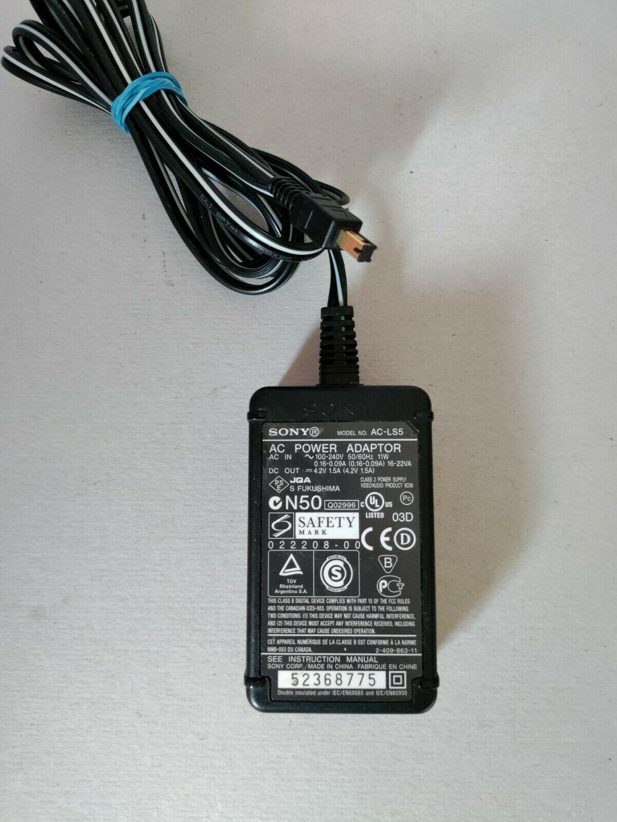Sony AC-LS5 Power Adapter 4.2V 1.5A
