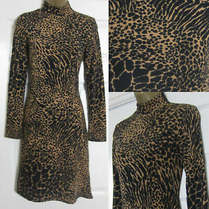 NEW-Warehouse-Womens-Animal-Print-Tea-Dress-Roll-Neck-Jersey-Fit-and-Flare-8-16