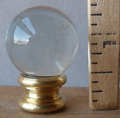 "Lamp finial w/ 1"" dia Water Clear Glass Ball 1 3/8"" high brass"