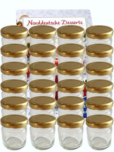 60 mini chute verres 53 ML pots de confiture bocaux einweckgläser Gold