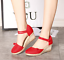 thumbnail 7 - Roman-Womens-Wedge-Mid-Heels-Strappy-Linen-Sandals-Pointy-Toe-Casual-Retro-Shoes