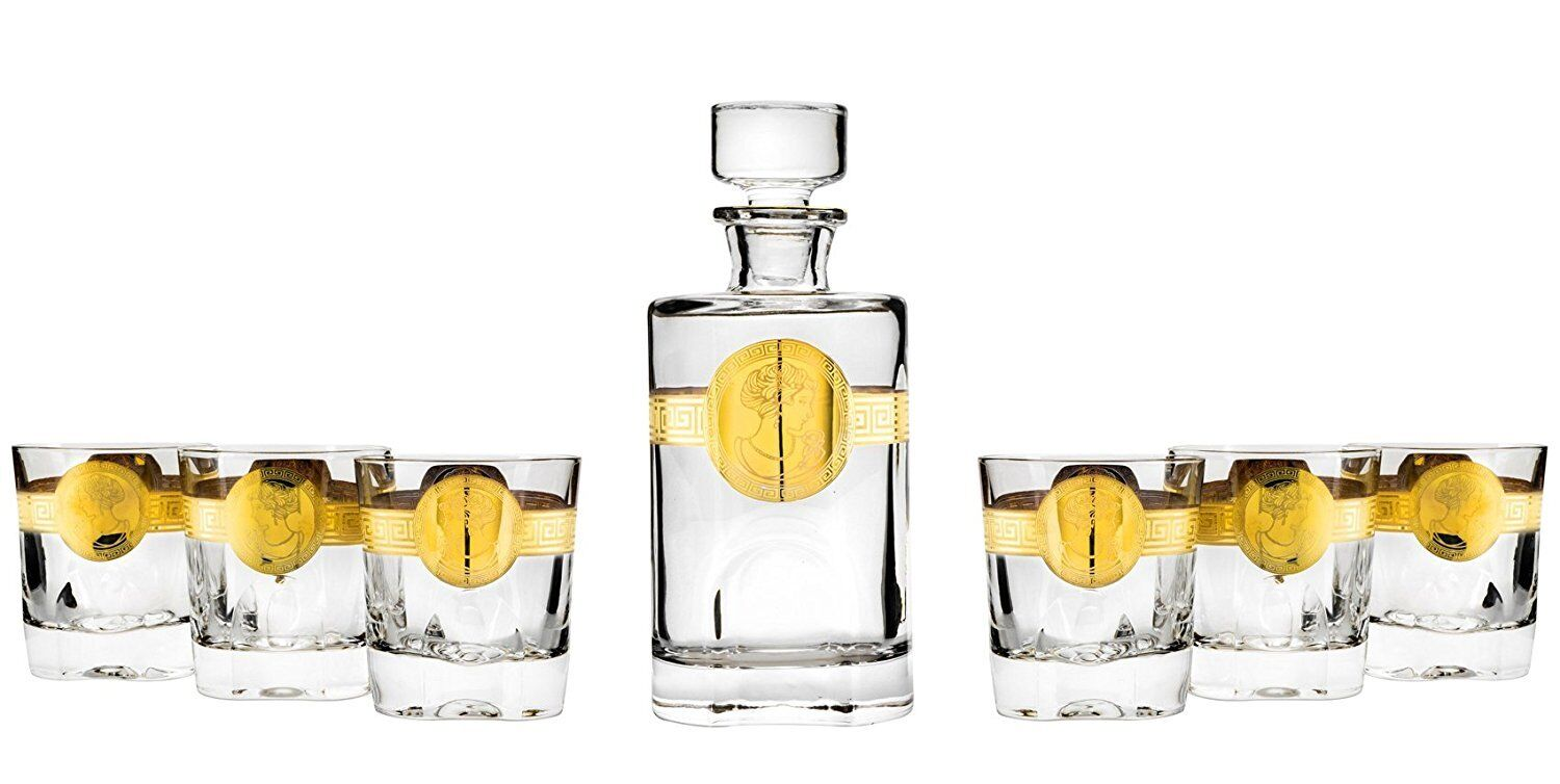 22 Oz Crystal Decanter and Six 6.76 Oz Heavy Base Whisky Tumblers, 1+6-Piece Set