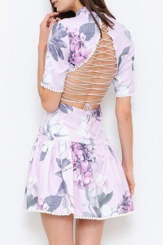juniors hot new back lace up ruffle light purple flower print dress