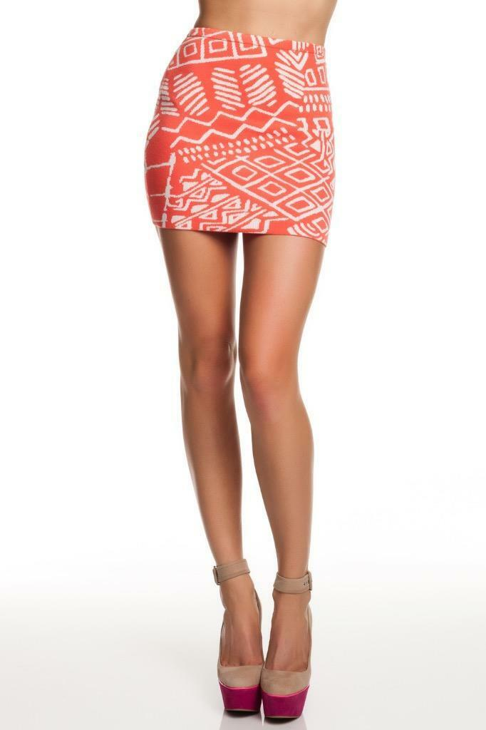 Torn by Ronny Kobo Astrid Tribal Knit Mini Skirt CORAL For damen Orange