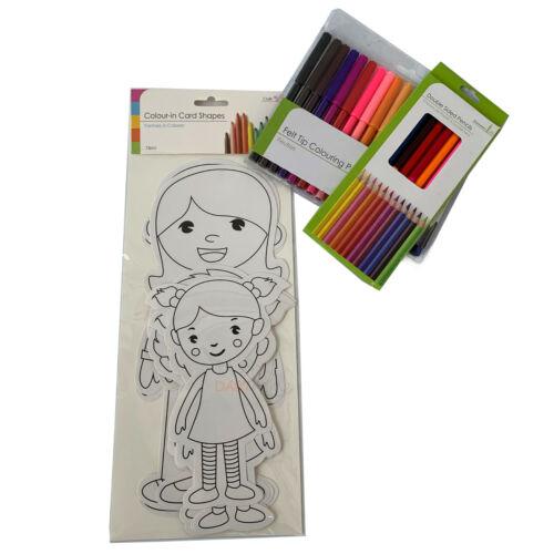 40x personas color en tarjetas Lápices Fieltro Punta Plumas Niños Conjunto de artesanía de arte de actividad