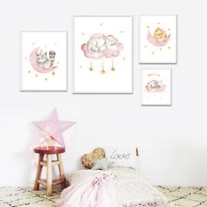 Woodland Animal Canvas Print Cartoon Nursery Poster Painting Baby Room Decor Ebay