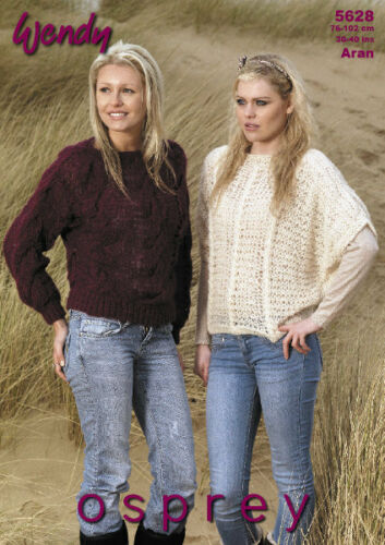 "Wendy Knitting Pattern 5628 Cable /& Lacy Batwing Sweaters Aran 30-40/"" Ladies NEW"