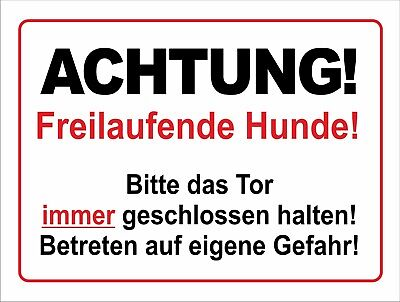 Sparsam Achtung! Freilaufende Hunde! - Alu- Pvc- Schild Oder Klebeschild Versch. Formate Entlastung Von Hitze Und Sonnenstich