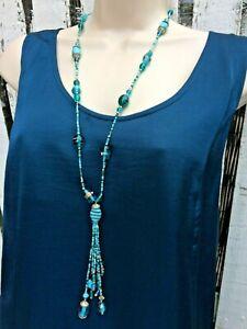 Vintage-Murano-Glass-Art-deco-Necklace-hand-crafted-Aventurine-tassel