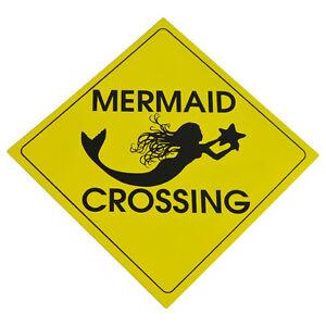 Caution-MERMAID-CROSSING-Metal-Sign-Nautical-Beach-House-Coastal-Home-Wall-Decor