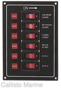 marine 6 gang ip65 fuse switch panel 12v black boat. Black Bedroom Furniture Sets. Home Design Ideas