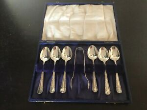 Antique vintage cased set of 6 Silver Plated teaspoons and sugar tongs England