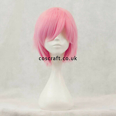 Short layered cosplay wig with fringe in rose pink, UK seller Prince style