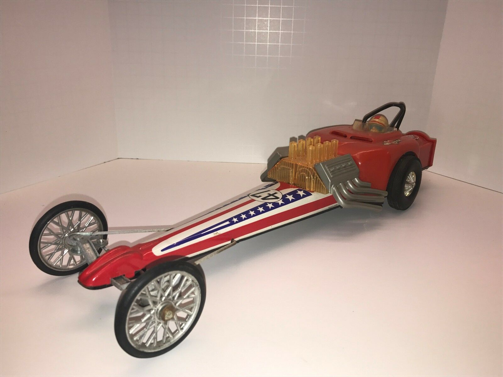 Vintage Battery Operated Dragster, Tin Plastic HUGE   Stars & Stripes W Driver