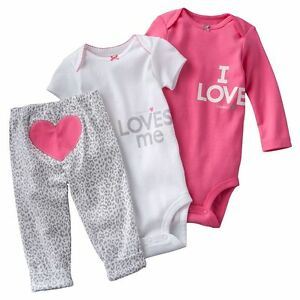 NWT Carters Baby Girls 3 Piece Bodysuit Set Clothes